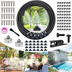 Aiglam Misting Cooling System, Misting System with 66FT(20M) Misting Line + 24 Misting Nozzles + 2 Brass Adapters(3/4