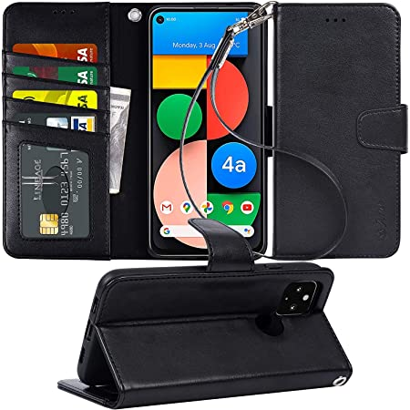 【Amazon限定ブランド】Pixel4A 5G ケース 手帳型 - スマホケース Google Pixel 4A 5G 【横置き機能 ストラップ付き カードポケット付き】 Arae 2020新型 適応用 財布型 ケース カバー (Google Pixel 4A 5G, ブラック)