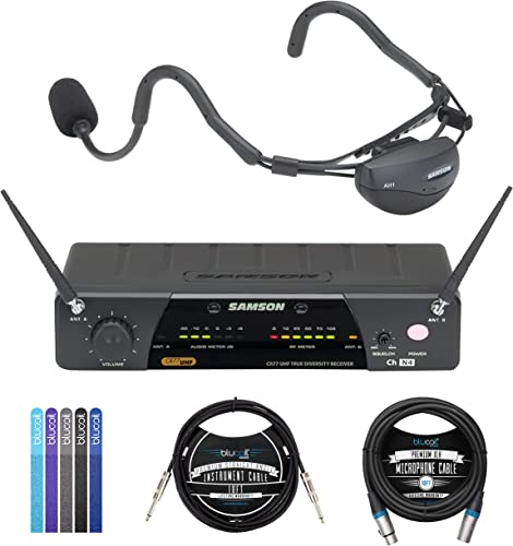 2021 Samson Airline 77 AH7 Wireless popular System Fitness Headset (Channel K1) Bundle with Blucoil lowest 10-FT Balanced XLR Cable, 5-Pack of Reusable Cable Ties, and 10-FT Straight Instrument Cable (1/4in) online sale