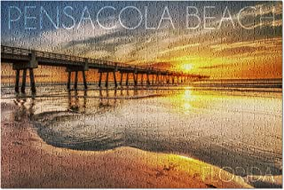 Pensacola Beach, Florida - Pier and Sunset 52837 (Premium 500 Piece Jigsaw Puzzle for Adults, 13x19, Made in USA!)