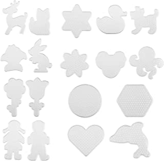 Kare & Kind Fuse Beads Pegboards - 19 pcs - Also Includes Colorful Card Templates, Reusable Ironing Paper and Tweezers - Kids DIY, Arts and Craft Activities