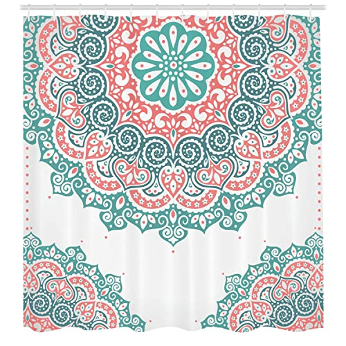 Ambesonne Henna Shower Curtain Soft Colored Mandala South Asian Culture Inspired Ethnic Style Floral Image