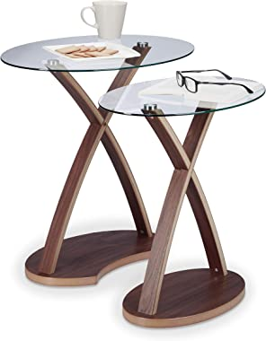 Relaxdays 10021248 Table d'appoint ovale lot de 2 plateau en verre et pieds en bois design moderne 2 tailles, nature - Marron
