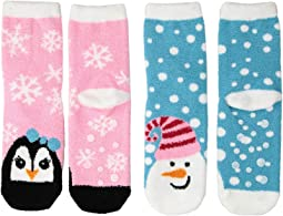 Snowman and Penguin Fuzzy Non-Skid Slipper Socks 2-Pack (Toddler/Little Kid/Big Kid)