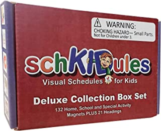 SchKIDules 153 Pc Deluxe Collection Box Set for Visual Schedules, Kids Calendars and Behavior Charts: 132 Home, School and Special Needs Themed Activity Magnets Plus 21 Headings Magnets
