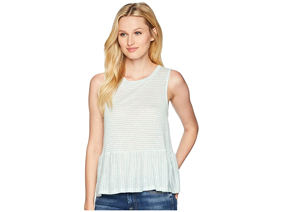 Three Dots Mojave Stripe Flounce Tank Top (Turquoise) Women