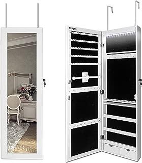 Ezigoo Espejo Joyero con Armario para Joyas, Montura para Puerta Joyero Pared Espejo con Gabinete con Luces LED, 110 x 31.5 x 8.5 cm