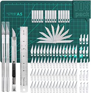 105 PCS Precision Carving Craft Hobby Knife Kit Includes 92 PCS Carving Blades with 2 Handles, 11 PCS SK5 Art Blades with ...