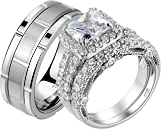 Wuziwen Wedding Rings Set for Him and Her Women Mens Tungsten Bands Womens Cz Engagement Ring