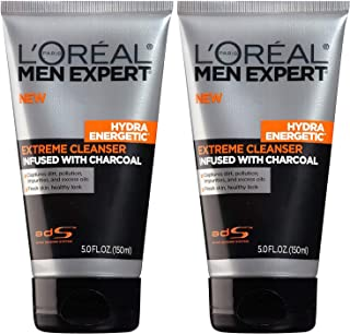 L'Oreal Paris Skin Care Men's Expert Hydra Energetic Charcoal Cream Cleanser, 2 Count