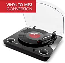 ION Audio Max LP Black  Three Speed Vinyl Conversion Turntable with Stereo Speakers, USB Output to Convert Vinyl Records to Digital Files and Standard RCA & Headphone Outputs
