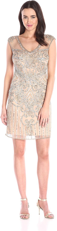 Pisarro Nights Womens Short 3 4 Sleeve Illusion Beaded Dress Dress