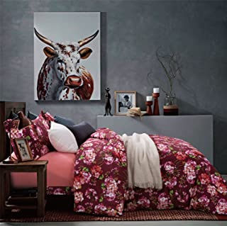 Eikei Autumn Leaf Watercolor Print Brushed Cotton Duvet Cover Modern Tree Branches Pattern Soft and Warm Bedding Set Cream Copper Rust Burgundy Mauve Fall Colors Leaves (King, Burgundy)