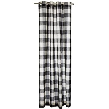 Lorraine Home Fashions 09570-84-00146 BLACK Courtyard Grommet Window Curtain Panel, Black, 53  X 84