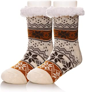Kids Boy Girl Soft Thick Warm Snowflake Slipper Socks Winter Knit Fleece Fuzzy Children Home Socks