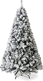 Best Choice Products 7.5ft Premium Snow Flocked Hinged Artificial Pine Christmas Tree Holiday Decor w/Metal Stand