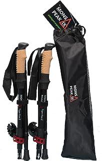 Mons Peak IX Tiger Paw Z Trekking Poles (Z-120) برای پیاده روی ، پیاده روی ، پیاده روی ، کفش برفی - گرفتن چوب پنبه ، تاشو ، تاشو ، قابل تنظیم و سبک وزن