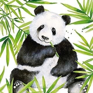 Home Collection Maison Cuisine Set 40 Serviettes de Table Jetables 3 Plis Motif Panda Jungle Tropicale