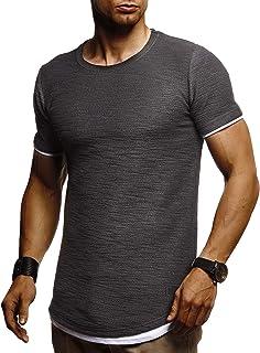 d5b6df997717c LEIF NELSON Herren Sommer T-Shirt Rundhals-Ausschnitt Slim Fit  Baumwolle-Anteil