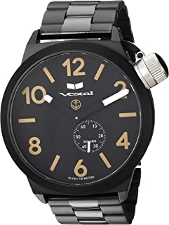 Vestal 'Canteen Metal' Quartz Stainless Steel Casual Watch, Color Black (Model: CNT453M07.3BKM)