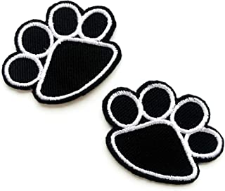TH Set of 2 pcs. Mini Black Paws Dog Lover Cute Cartoon Logo Patches Sew Iron on Embroidered Applique Badge Sign Patch Clo...
