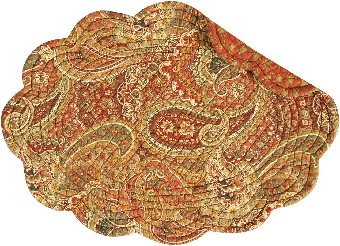 CF Home Tangiers Ranking integrated 1st place Orange Paisley Oval 13 19 Quilted Reversible x Cheap mail order sales