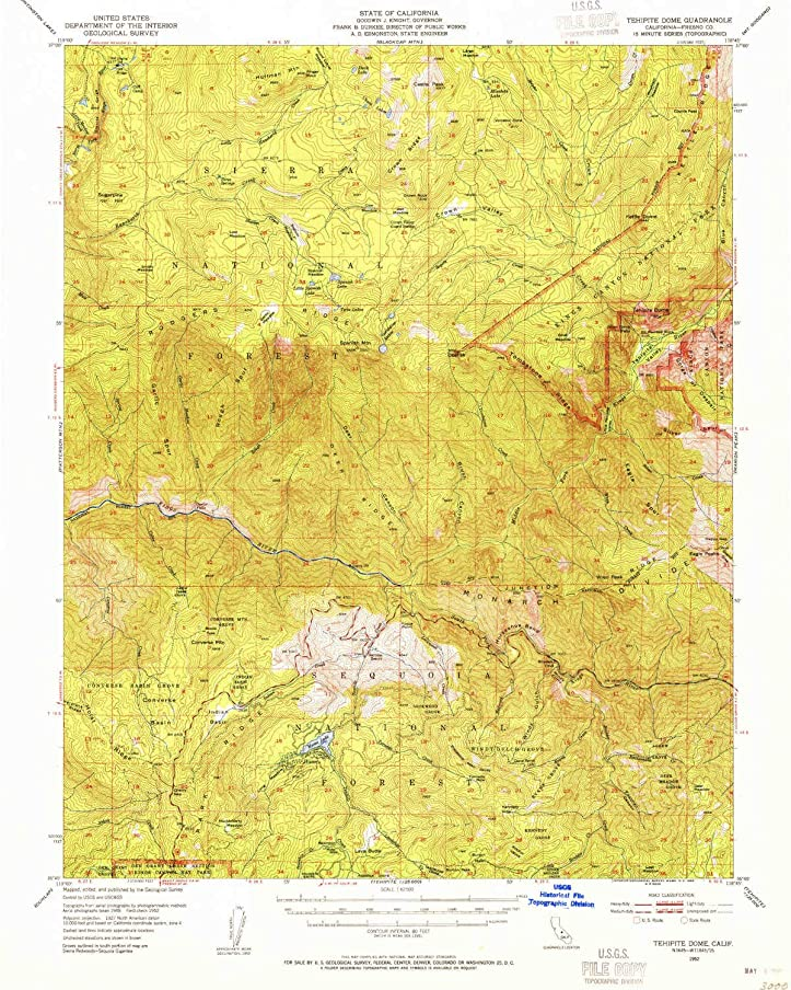 YellowMaps Tehipite Dome CA topo map, 1:62500 Scale, 15 X 15 Minute, Historical, 1952, Updated 1955, 20.8 x 16.6 in