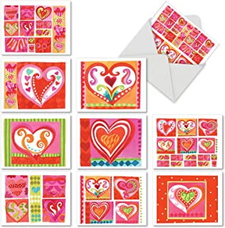 Art Hearts - 10 Assorted Greeting Cards with Envelopes (4 x 5.12 Inch) - Boxed Valentines Day Cards, All Occasion Blank Note Cards - Fun, Cute Art for Adults, Kids - Stationery Notecard Set M6725OCB