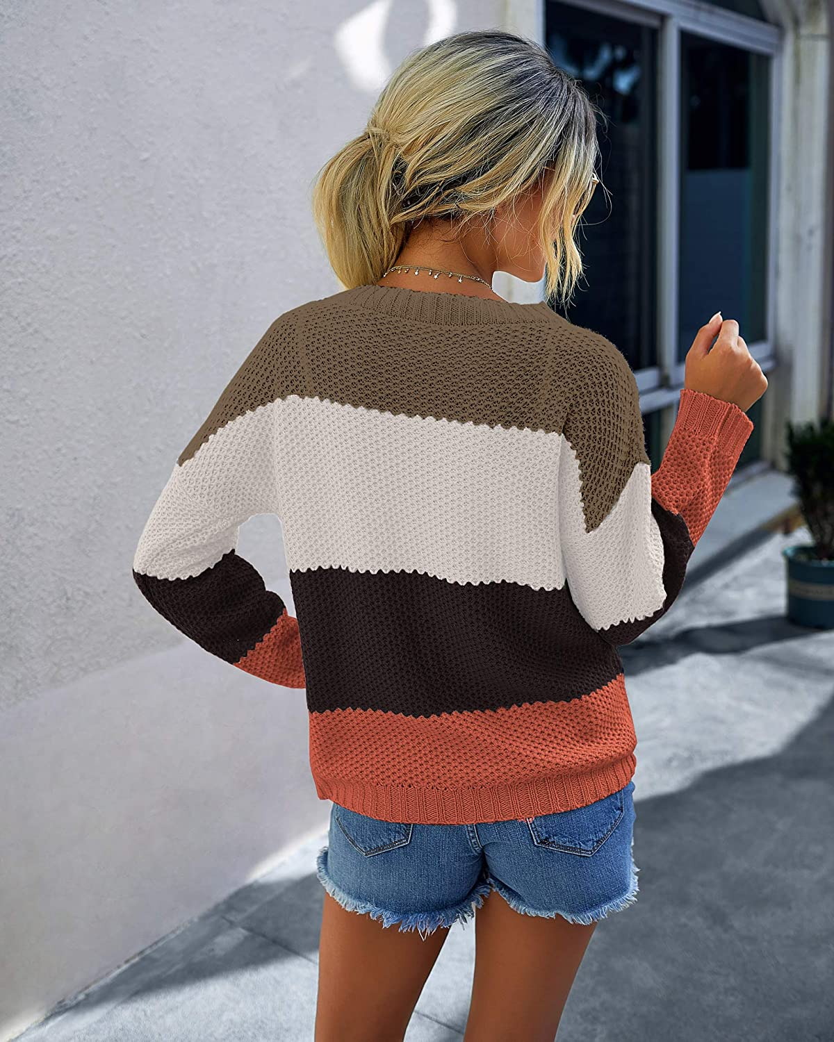 PRETTYGARDEN Women's Casual Striped Color Block Knit Sweater Long Sleeve Crew Neck Loose Pullover Tunic Blouse Tops