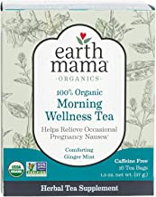 Earth Mama Organic Morning Wellness Tea Bags for Occasional Morning Sickness, 16-Count (2-Pack)