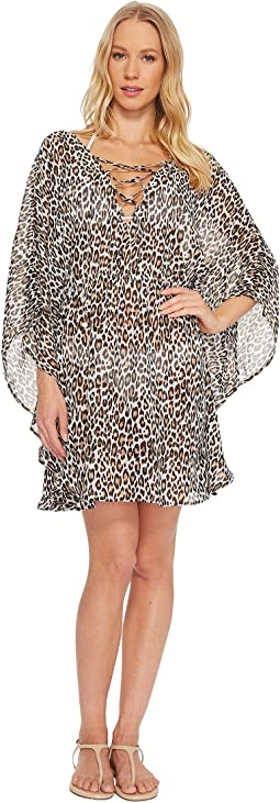 Tommy Bahama Cat's Meow Open-Back Lace-Up Tunic Cover-Up