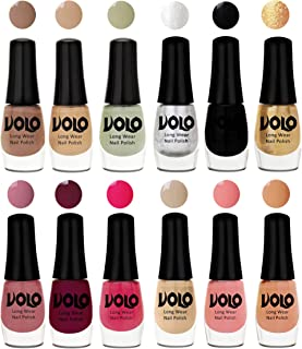 Volo Color Rich Toxic Free Perfection Shine Nail Polish Set of 12 (Dark Nude, Nude, Mischievous Mint, Metallic Silver, Bla...