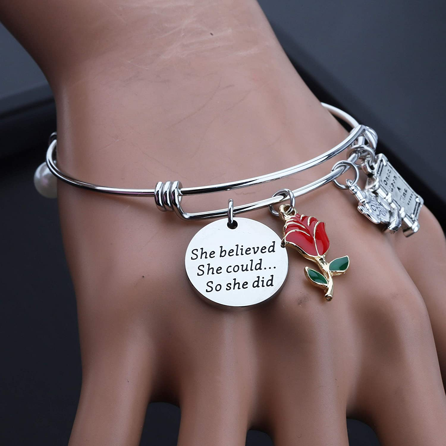 Beauty and The Beast Gift Belle Bracelet Princess Bracelet She Believed She Could So She Did Beauty and The Beast Inspired Jewelry