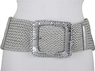 f52830690499 TFJ Women Fashion Elastic Wide Belt Hip Waist Metallic Silver Square Buckle M  L XL