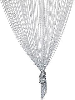 TRIXES Cortina de Hilo (Plata) - Divisor de Puerta Gota de Rocío - 90 x 200 cm - Cadena de Plata y Panel de Cortina Ventana - Le Ayudará a Mantener Alejadas Las Indeseadas Moscas