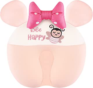 Baby Pillow Anti Flat Head - Infant Sleeping Organic Pillows Newborn Toddler Neck Round Support Pillows Pink Polka Bow-Kno...