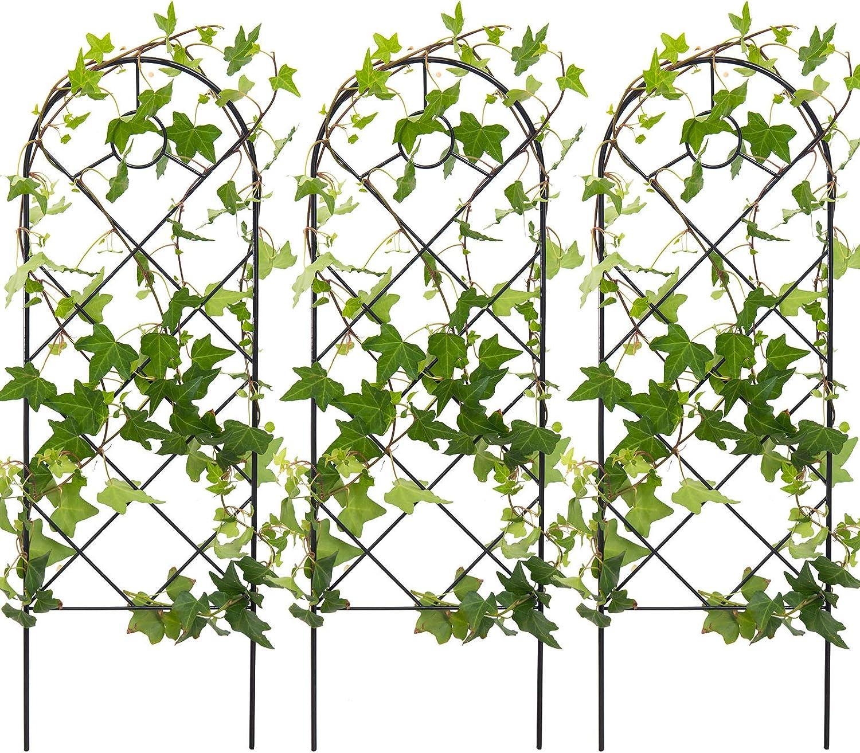 3 Pack Black Iron Garden Trellis for Climbing Plants- 23