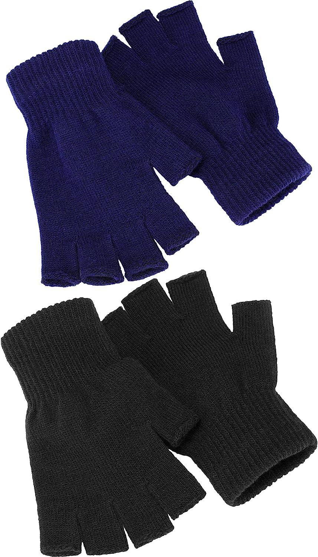 2 Paare Halbfinger Handschuhe Unisex Warme Winter Fingerlose Handschuhe Für Männer Frauen Schwarz Blau Bekleidung