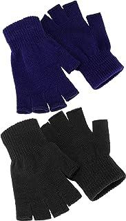 2 paia di guanti a mezze dita unisex caldi invernali guanti senza dita per uomini e donne