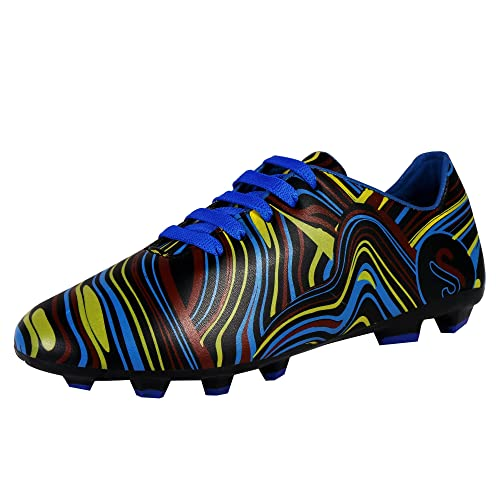 STEEMO Men s Synthetic Black Base   Multicolored Laced-Up Football Sports  Shoes (FT- 6c5c7170f