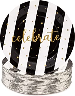 Juvale Black and Gold Celebrate Paper Party Plates (80 Count) 9 Inches