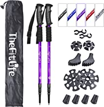 TheFitLife Nordic Walking Trekking Poles - 2 Pack with Antishock and Quick Lock System، Telescopic، Collapsible، Ultralight for Hiking، Camping، Mount Mounting، Backpacking، Walking، Trekking