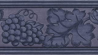 Damask Style Grapes Leaves on Scroll Pewter Blue Wallpaper Border Retro Design, Roll 15' x 5.25''