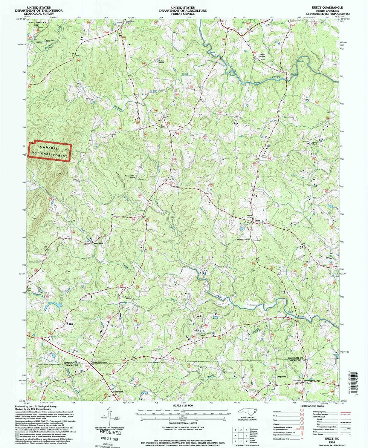 Erect NC topo map, 1 24000 Scale, 7.5 X 7.5 Minute, Historical, 1994, Updated 1998, 26.6 x 21.8 in