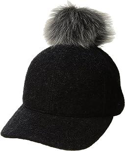 UGG - Fabric Baseball Hat with Fur Pom