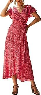 BerryGo Women's Boho V Neck Ruffle Floral Wrap Maxi Dress