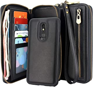 Lacass Dual Zipper Detachable Magnetic Leather Wallet Case Wristlets Clutch Handbag Purse with Card Slots Money Pocket Shockproof Protection Back Cover for LG Stylo 5 / Stylo 5 Plus/Stylo 5V (Black)