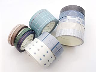 Stripes, Grid, and dot Patterned washi Tape Set of 12 Rolls for scrapbooks, Crafts, Cards, Invitations and for Marie Kondo Style upcycling Leaves no Residue When Removed