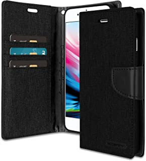 iPhone 8 Plus/iPhone 7 Plus Wallet Case with Free 6 Gifts [Shockproof] GOOSPERY Canvas Diary [Ver.Magnetic] Card Holder with Kickstand Flip for Apple iPhone7Plus/8Plus - Black, IP8P-CAN/GF-BLK