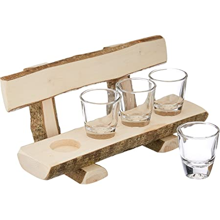 Deggelam - Panchina in legno con bicchierini da liquore // Bicchierini da liquore // Panca // Regalo naturale 100% biologico